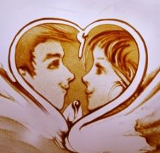 情侣沙画图片