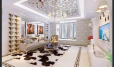 白色欧式客厅沙发墙图片