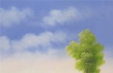 蓝天白云 油画图片