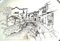 手绘村庄图片