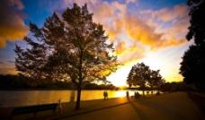 公园晚霞风景图片