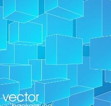 蓝色3d长方体背景图片