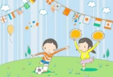 卡通漫画 足球 矢量图片