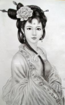 古装美女素描图片