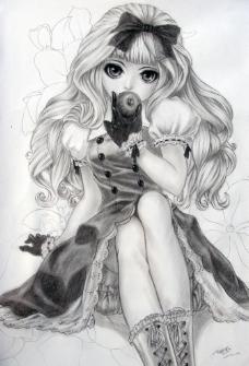 素描白雪公主图片