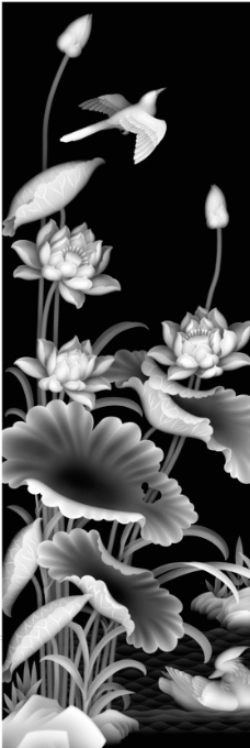 荷花莲花面板精雕灰度图片