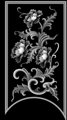 洋花面板工艺精雕灰度图片
