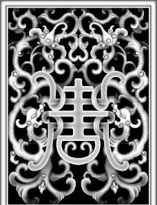 草龙面板精雕灰度图图片