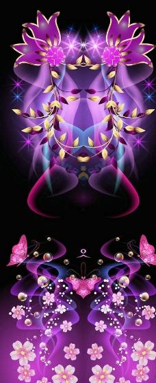 蝴蝶粉花装饰墙纸图片