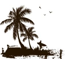 椰子树剪影图片