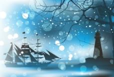 帆船 雪天图片