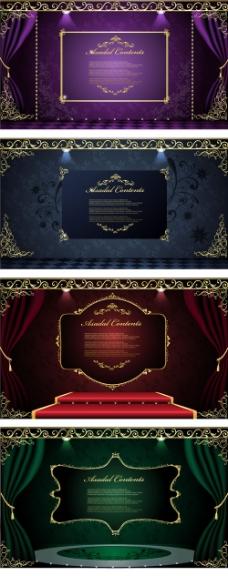 舞台金色装饰框矢量下载