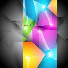 绚丽彩色盒背景矢量图