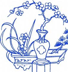 青花瓷图案 水仙花瓶