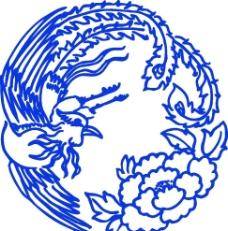 青花瓷图案 凤纹图片