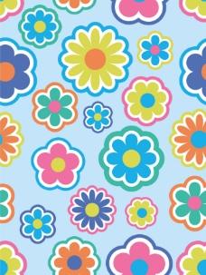 可爱花朵背景矢量图下载
