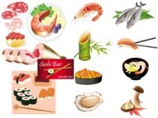 日本海鲜料理矢量图下载