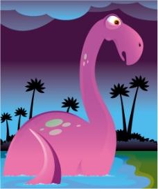 可爱卡通恐龙矢量图下载