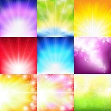 多色彩光芒背景矢量图下载