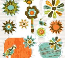 可爱花纹标签帖纸图片