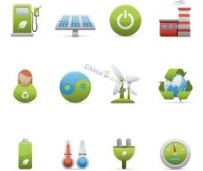 绿色立体图标矢量素材