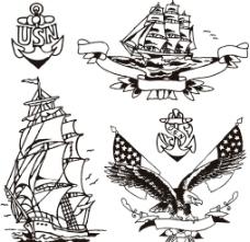 手绘帆船矢量素材图片