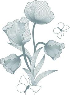 鲜花蝴蝶图片