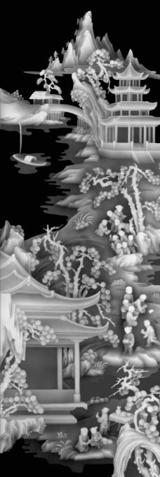 浮雕灰度图 风景屏风图片