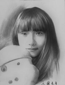 女孩素描图片