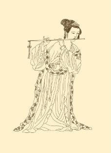 侍女线描图片