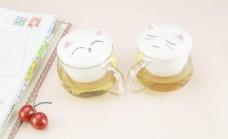 玻璃加陶瓷花茶杯图片