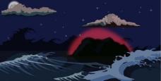 发着红光的神山图片
