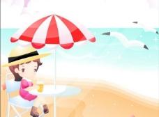 女孩 太阳山 海滩图片