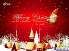 卡通红色圣诞节PPT模板