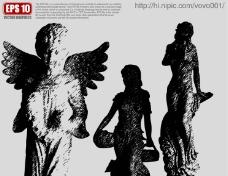 欧洲雕塑矢量剪影图片
