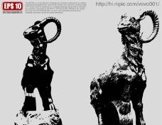 羊雕塑矢量剪影图片