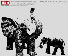大象雕塑矢量剪影图片