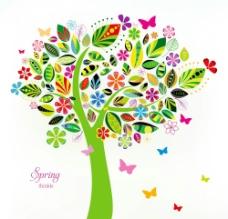 唯美 大树 蝴蝶图片