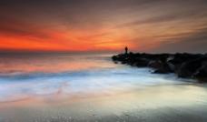 夕阳 海岸图片