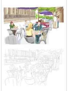 水彩城市-露天茶座矢量图
