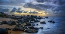 海滩日落图片
