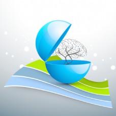 与人类大脑的蓝色背景上的医学概念