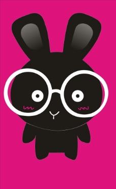 戴眼镜小黑兔图片