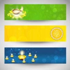 网站标题或横幅印度教节日排灯节为社区或排灯节EPS 10