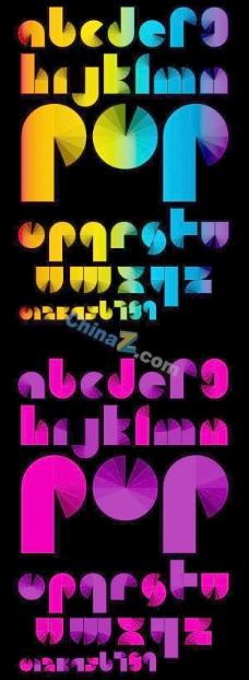 炫彩字母背景矢量素材