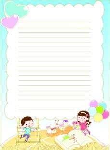 16k儿童卡通信纸图片
