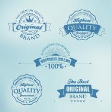 深蓝色的优质标签矢量