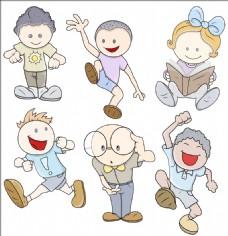 孩子们在各种姿势的矢量插图