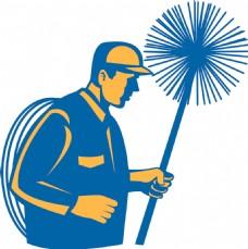 扫烟囱的工人或清洁