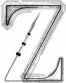 技术字体字母Z
